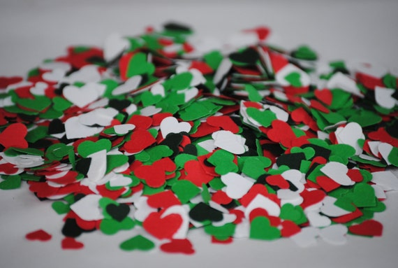 HOLIDAY MIX 2000 Mini Confetti Hearts. Weddings, Showers, Decorations. Any COLOR Available. Holiday Decoration