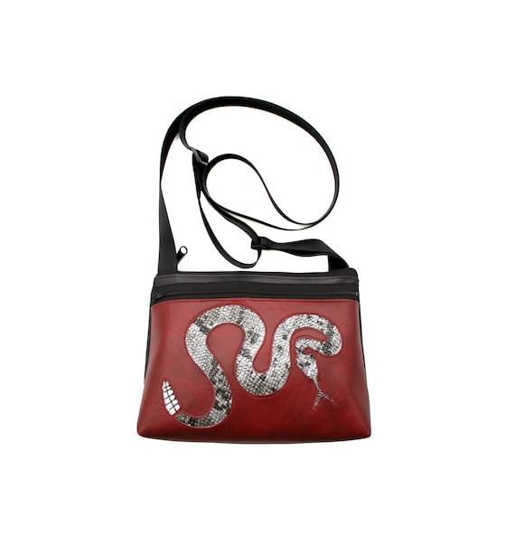 Rattlesnake, silver, dark red vinyl, boxy cross body, vegan leather, zipper top