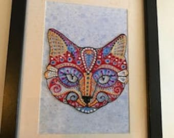Hand painted Cat design in black frame