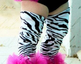 "Zebra Girls Ruffle Tutu Leg Warmers - Perfect for Birthday, Cake Smash Photo Prop, Costume, baby to girls 6X approx 12"" long"