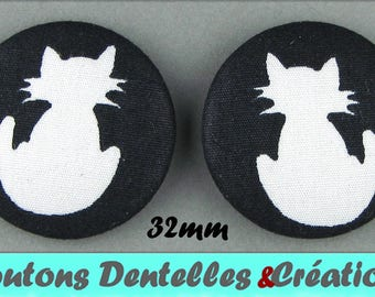 Fabric covered buttons - cat - cat Silhouette - 32mm (40-46)