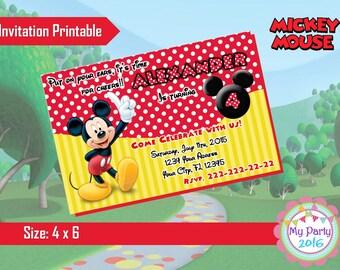 Mickey Mouse Birthday Party Invitation - Printable