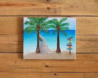 Beach Painting Prints, Acrylic Painting Prints 8x10, Palmtrees