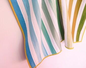 Baby quilt, baby boy quilt, baby blanket, blue green stripes, toddler quilt