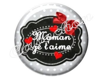 2 20mm glass cabochons, MOM, mothers day