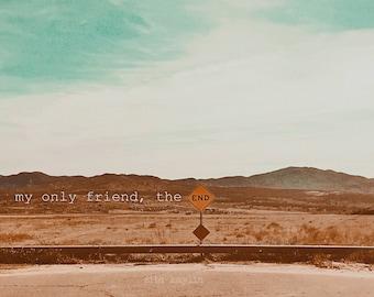sign & song, street sign, The Doors, The End, sky, clouds, street art, desert 6x8, 9x12, 12x16
