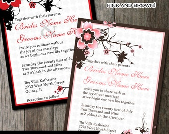 Cherry Blossom Wedding Invitation DIY Digitable Printable Pink and Brown or Red & Black Cherry Blossom Sakura Floral Branches