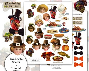 Thanksgiving Chenille Ornaments digital collage sheet  set -- two sheets and a PDF tutorial