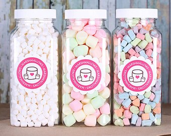 Marshmallow Toppings Set, Micro Marshmallows, Colored Mini Marshmallow, Dehydrated Marshmallow Shapes, Pastel Marshmallows
