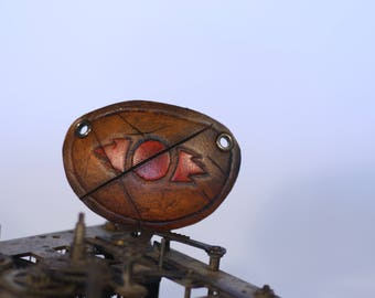 steampunk leather eye patch , red sith (made to order)