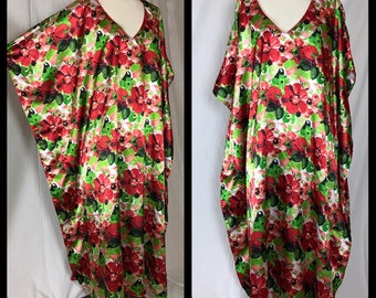 Vibrant Red and Green Floral Print, Satin Caftan with Red Piping V Neck in Tea Length - One Size