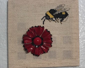 Vintage Broach and Cross Stitch Wall Art
