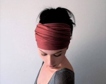 MARSALA Head Scarf, Headbands for Women, Yoga Headband, Reddish Pink Turban Head Wrap, Boho Headband, Jersey Headband, Turban Headband