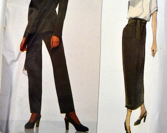 Vintage 1990's Calvin Klein Jacket, Skirt, Pants, and Scarf Sewing Pattern Vogue 1202  Misses'  Size 8-10 Bust 31 - 32 inches Uncut Complete