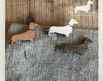 Doxie. Stickpins (Set of 3) -- (Dachshund, Dog Pin, Vintage-Style, Sausage Dog, Wiener Dog, Wood, Jewelry, Birthday Gift, Year of the Dog)