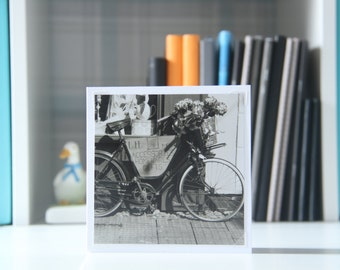 photo greetings cards,photographic cards,photo cards,black and white note cards,bike,black and white cards,birthday card,thank you card