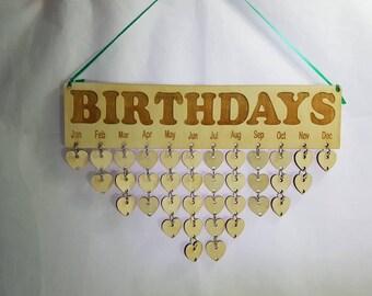 Birthday chart heart calendar birchwood ply lazer cut 36 hearts and rings