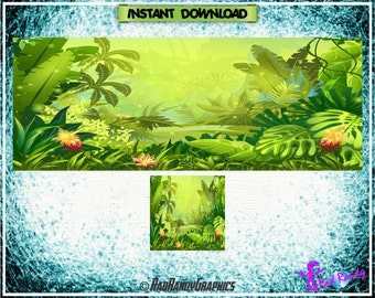 Facebook Cover and Profile Image Design Set , Jungle Design.