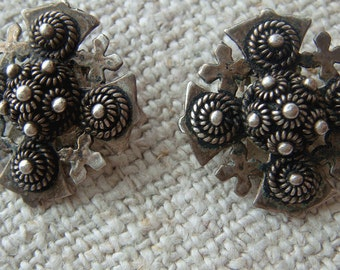Vintage Silver Cross Earrings,  Clip On Maltese Jerusalem Cross,  Cannetille Wirework 950 Silver Ornate Religious