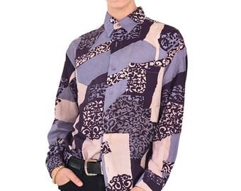 VINTAGE Colourful Long Sleeve Retro Button Down Shirt