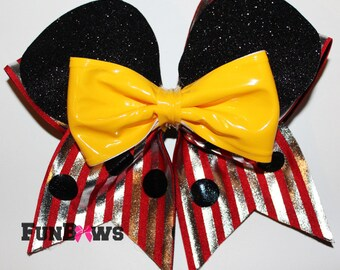 Very Unique and fun Mickey Cheerleading bow by Funbows !