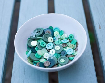 Assorted Sizes and Shapes of Green Buttons