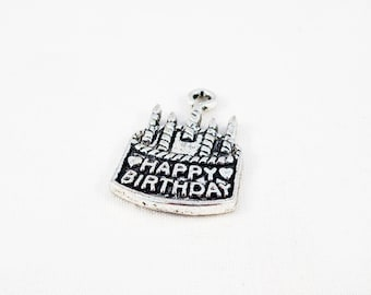 """BD54 - birthday party candle candle """"HAPPY BIRTHDAY"""" cake charm pendant in antique silver"""