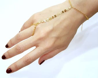 Gold hand chain Etsy