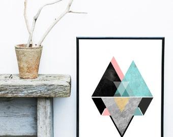 Geometric Wall Art, Printable Art, Mid Century Modern, Geometric Art, Wall Decor, Abstract Art Print, Scandinavian Art