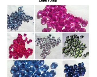 Lab created Gemstones- 2mm round (select color)