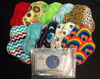 20-pack cloth pad making kit, unfinished, regular length medium flow, handheld snap press and snaps included *Set A6*