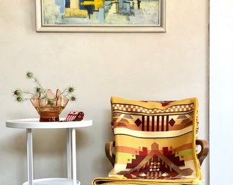 Wool Throw Blanket Native American Inspired Design Rust Orange Green Gold