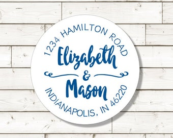 Return Address Sticker,  sheet of 20, custom- 2 inch circle, white photo gloss label,  wedding announcements, wedding favor