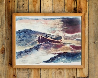 Sean Maguire Storm Painting Poster Movie Prop Will Hunting Psychologist Office Ocean Sea Fisherman Row Boat Decor Wall Art Print Gift Idea