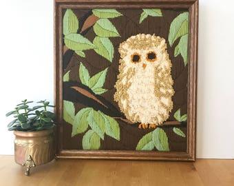 70s Vintage Owl Decor, Vintage Owl Wall Art, Owl Art, 70s wall art, Owl Crewel, Vintage Crewel, Framed Owl Art, Vintage Wall Art, Wall Decor