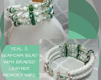 Teal & Seafoam Green Bracelet, White Braided Leather Bracelet, Memory Wire Bracelet, Flexible Bracelet, Mother's Day Gift, Gift for Her