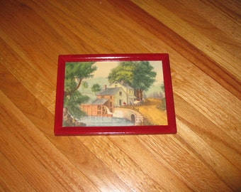 """MILL STREAM PRINT Small Vintage Print In Red Frame 6"""" x 8"""""""