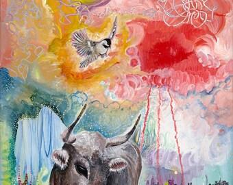 Print //  Ox art // Bull Art // Surrealism // Bird Art // whimsical // home decor // wall art // wall decor