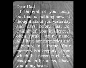 Dad Memorial Sign Plaque Instant Printable Wood Grain