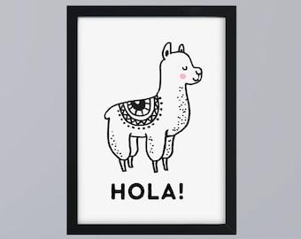 Lama Hola - unframed art print