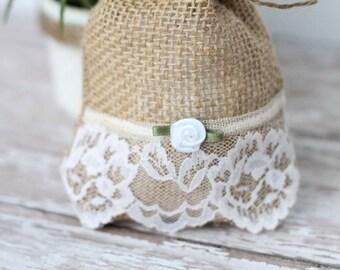 1 Shabby Chic handmade and designed by Belensshop//Wedding//Shower//party//favor// burlpa gift// Tea bag