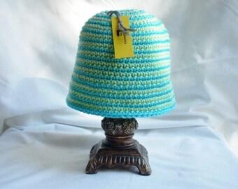 Toddler Winter Crochet Hat, Girl's Cloche Hat, Infant Girl Easter Spring Hat, Light Green and Aqua Striped Crochet Hat, Gifts for Girls