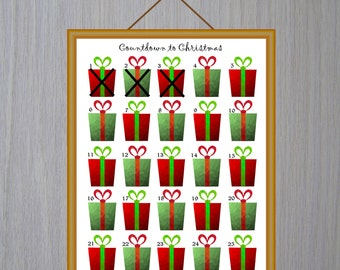 Advent Calendar Printable Countdown Christmas Advent Calendar Digital Advent Christmas Calendar Printable Christmas Instant Download Clipart