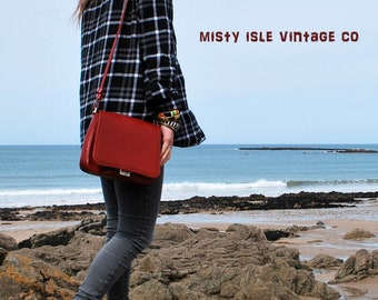 Red Leather Bag , Lancaster, French vintage bag, Leather Handbag, Shoulder bag, red leather shoulder bag, Lancaster Designer bag 234