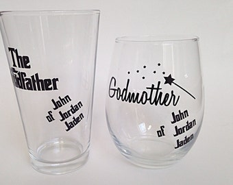 Godparent Glass Set (2), Godparent Gift, Godparent Glasses, Godmother Wine Glass, Personalized Godparent Glasses, Custom Godparent Glass,