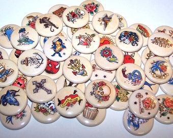 """Old School Tattoo Retro Tattoos Assorted Set of 10 Buttons 1"""" or 1.5"""" Pin Backs or 1"""" Magnets Party Favors American Traditional Flash Tattoo"""