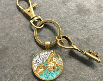 Brooklyn  Keychain Bronze with Ring Swivel Clasp and Key  New York Vintage Map