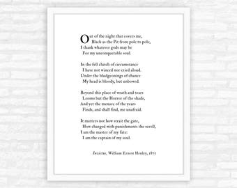 Invictus Poem Print, Master of my fate, Captain of my soul quote, Christmas gift for men