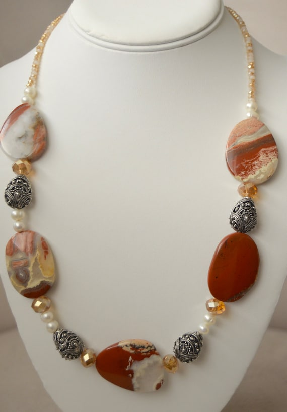 "Bold Red Jasper 20"" Necklace"