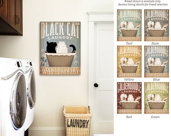 Black Cat Laundry Company basket illustration graphic art on CANVAS PANEL by stephen fowler